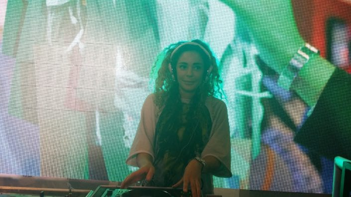 Female silent disco DJ